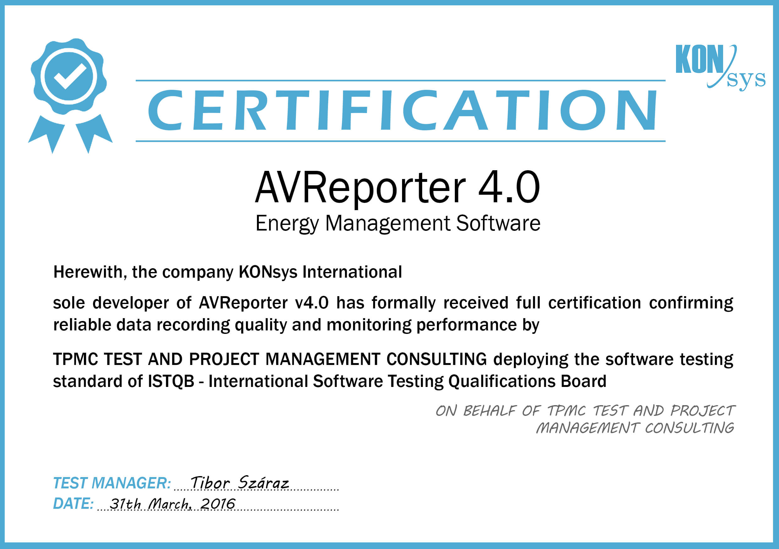 About us avreporter energy management software this is to confirm the certification of avreporter 40 energy management software developed by konsys international hq hungarygyr has been tested by 1betcityfo Choice Image